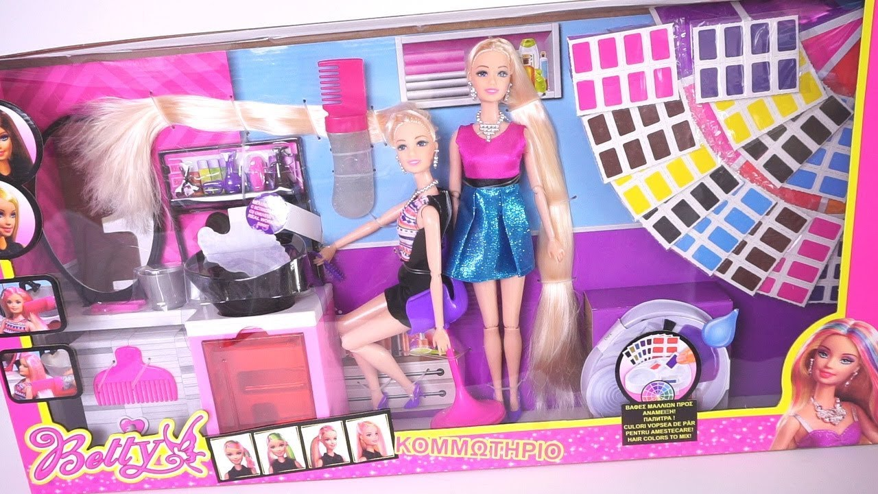 Barbie Dolls Beauty Salon Play Set With Different Hair