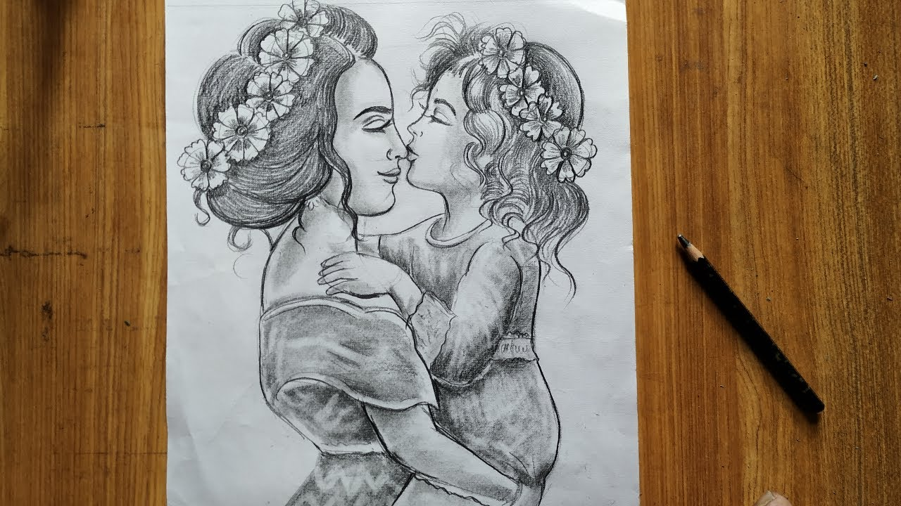 mother's day drawing with pencil sketch,easy pencil ...