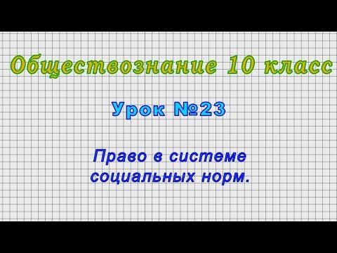 Обществознание 10 класс (Урок№23 - Право в системе социальных норм.)