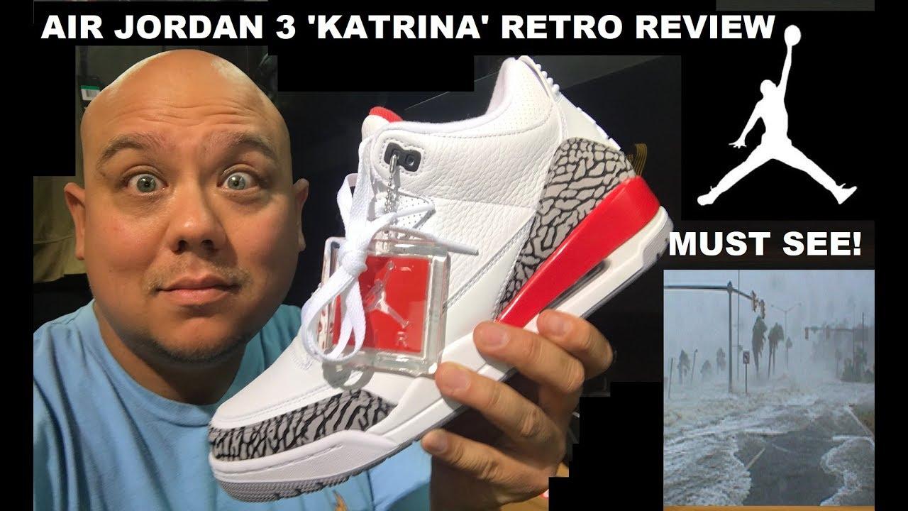 77663b5b9fe AIR JORDAN 3 KATRINA HALL OF FAME 2018 RETRO SNEAKER REAL REVIEW - WATCH  BEFORE YOU GET EM!