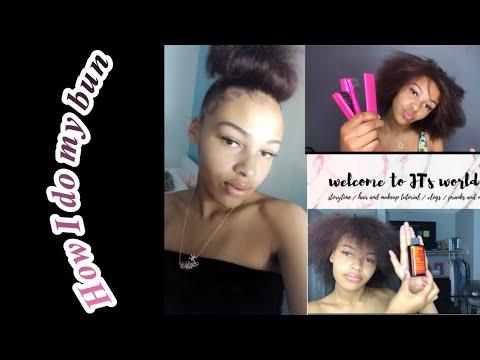 Natural hair tutorial// bun tutorial// JT's lifestyle thumbnail