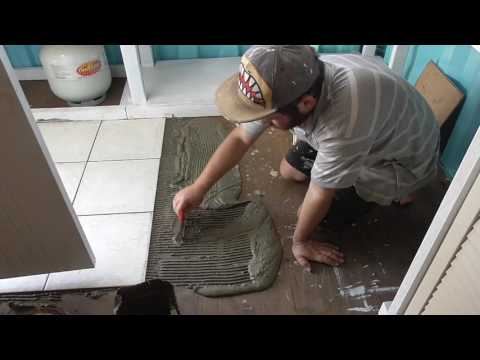 Tiling the Kitchen Floor Shipping Container Home Project part 13