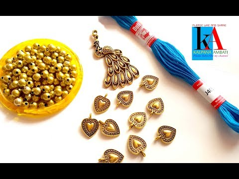 making of designer necklace with peacock pendent || cotton thread beads necklace at home