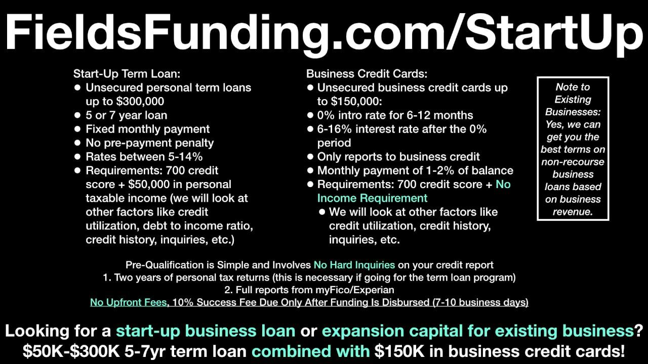 $50K to $300K Start-Up Loan – Fields Funding – Fields Funding