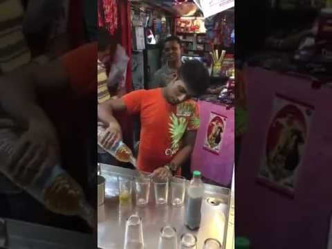 Making of Cold Coffee Indian Style. Indian Street food.