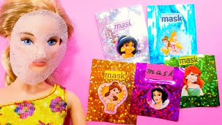 DIY Miniature barbie hacks and crafts ~ Face Sheet Masks ~ Disney Princess