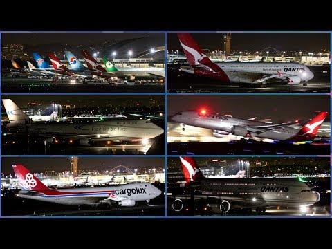 Plane Spotting - LAX at Night - April 2018