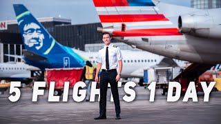 Day In The Life Of An Airline Pilot - 5 FLIGHTS!