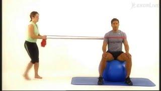 Sittende balanse på en ball med ytre motstand