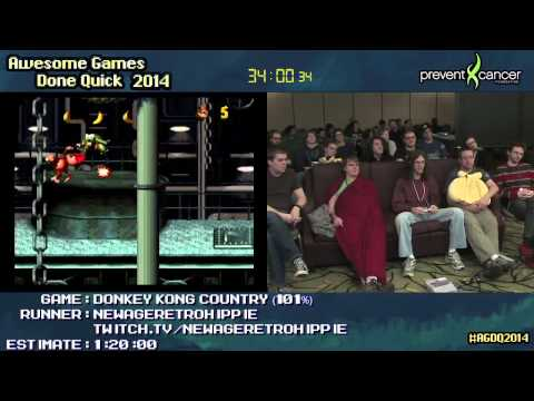 Donkey Kong Country :: SPEED RUN Live (0:58:17) (101%) [SNES] by NewAgeRetroHippie #AGDQ 2014