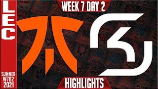 FNC vs SK Highlights   LEC Summer 2021 W7D2   Fnatic vs SK Gaming