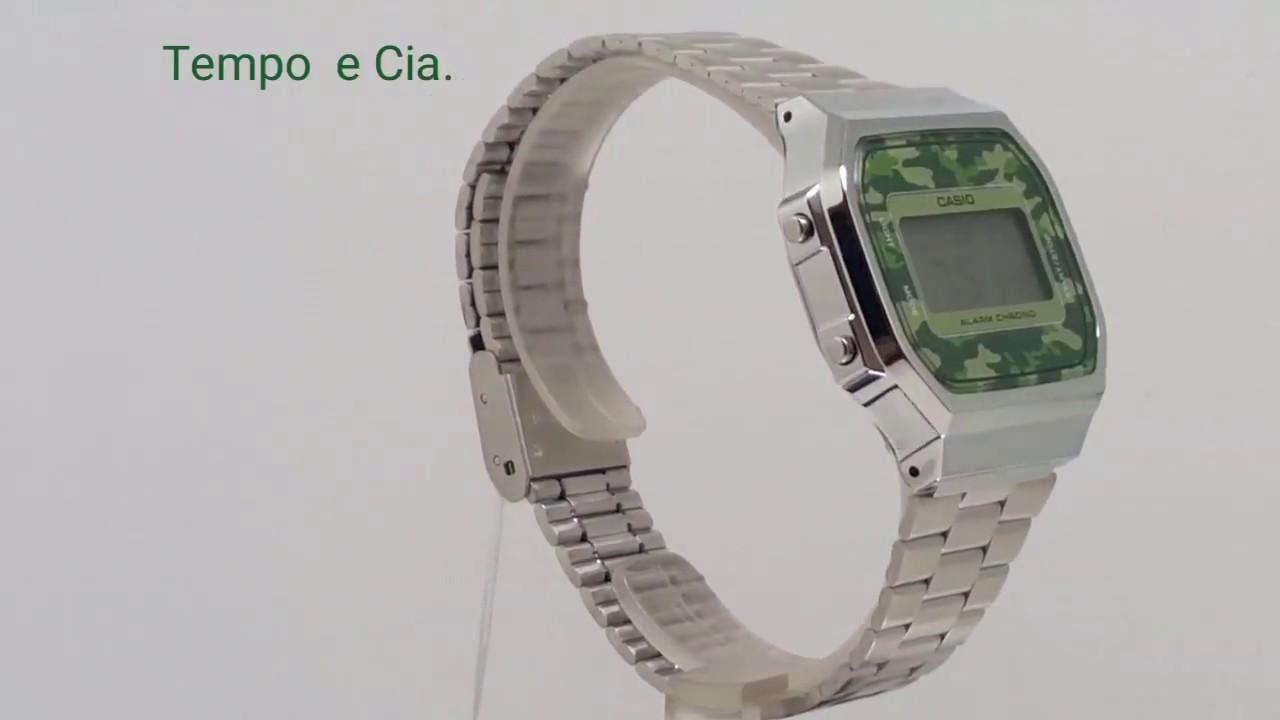 f8c46656a31 Relógio Casio digital Prata Aço Camuflado retrô unissex A168WEC-3DF ...