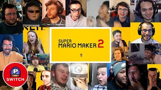 Live Reactions: Super Mario Maker 2 for Nintendo Switch  (20+ Youtubers Synched Compilation)