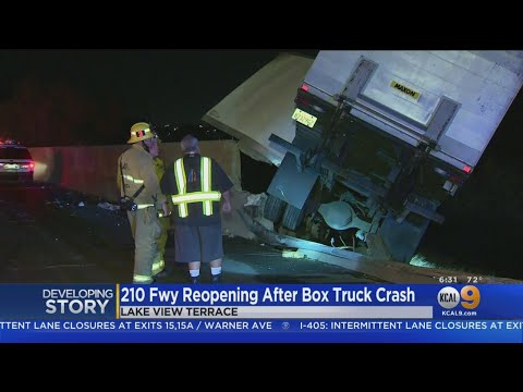 Box Truck Left Hanging Over 210 Freeway Embankment After