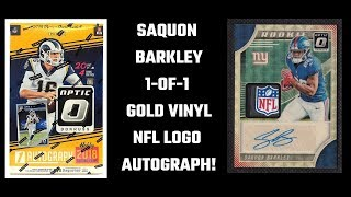 Gambar cover 2018 Donruss Optic - Saquon Barkley 1-of-1 Auto Gold Vinyl NFL Shield Rookie - Best Pull of My Life!