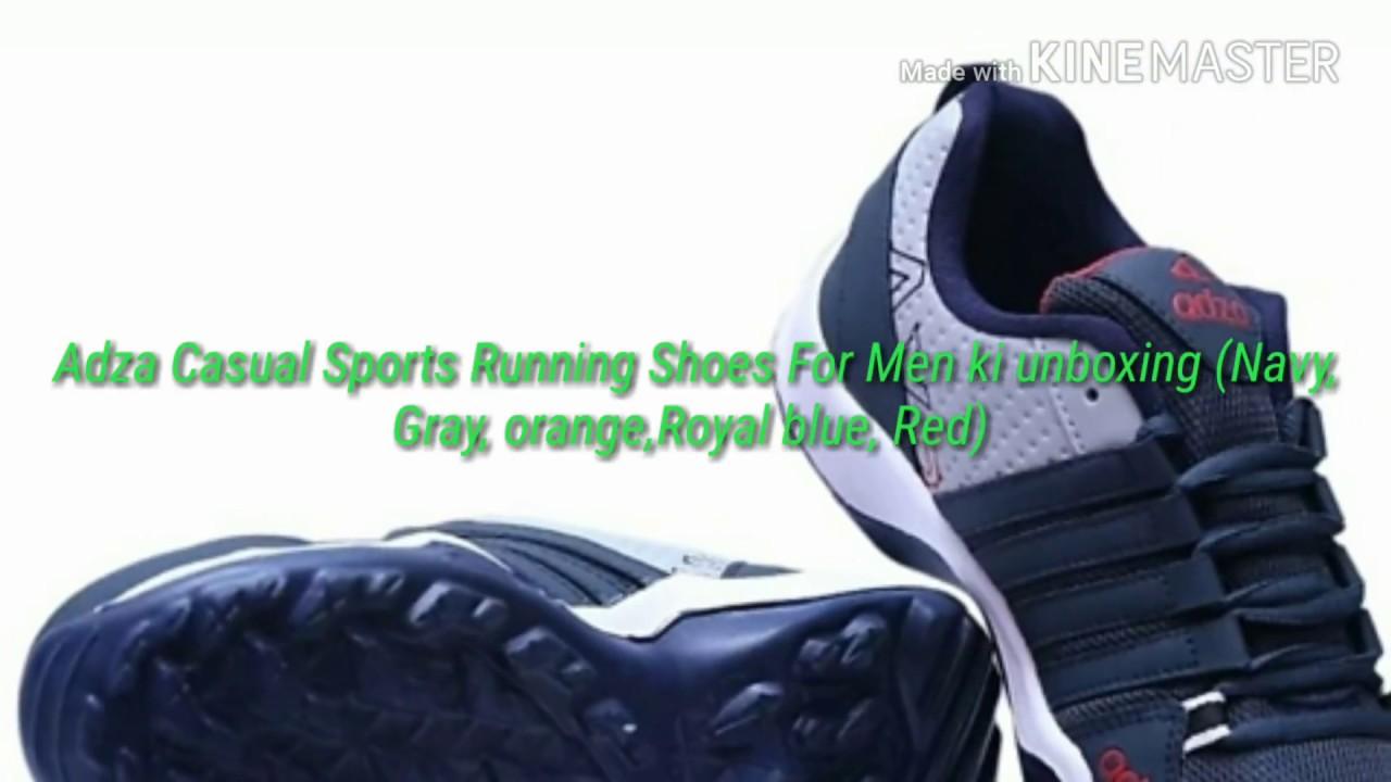 detailed look cc2f5 206f8 Adza Casual Sports Running Shoes For Men ki unboxing (Navy, Gray,  orange,Royal blue, Red)