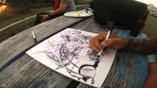 """How to draw with Ballpoint Pen - Time lapse of """"Catfish Blues"""" drawing by Tai"""