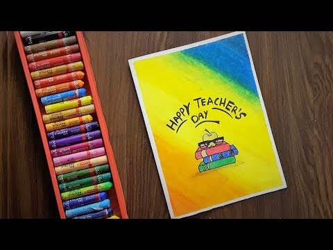 Teacher's Day Card Drawing (Very Easy) with Oil Pastels for beginners - Step by Step