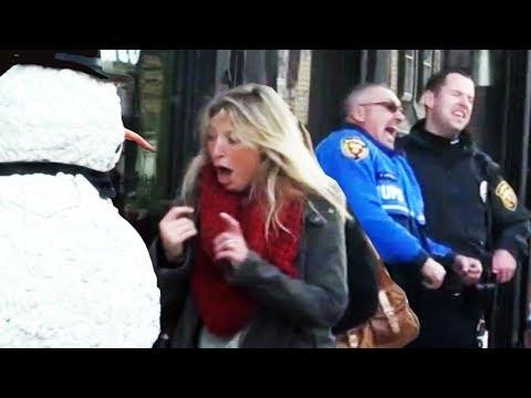 Scary Snowman SAVAGE Prank (COPS CALLED) - Boston