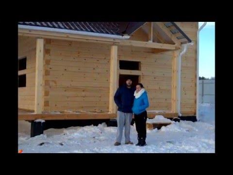 Дом из зимнего  бруса, строительство зимой.