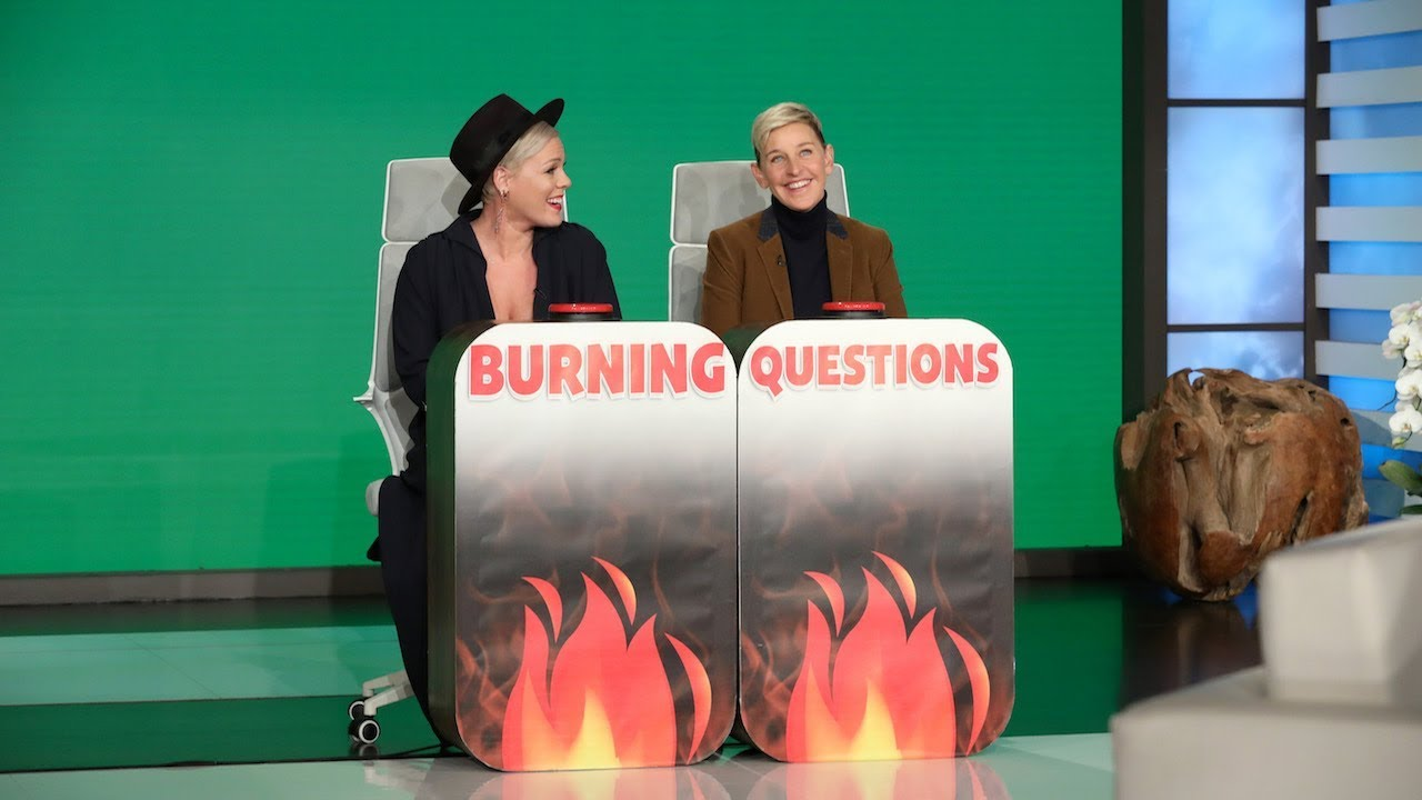 P!nk Answers Ellen's 'Burning Questions' - YouTube