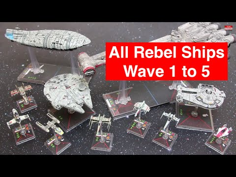 Star Wars X-Wing Rebel Ships Wave 1 to 5 - Ship & Pilot Stats, Movement + 360 Miniature zooms