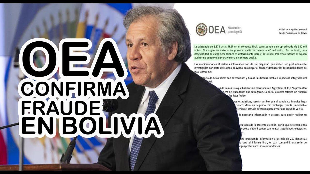 OEA CONFIRMA FRAUDE EN BOLIVIA - YouTube