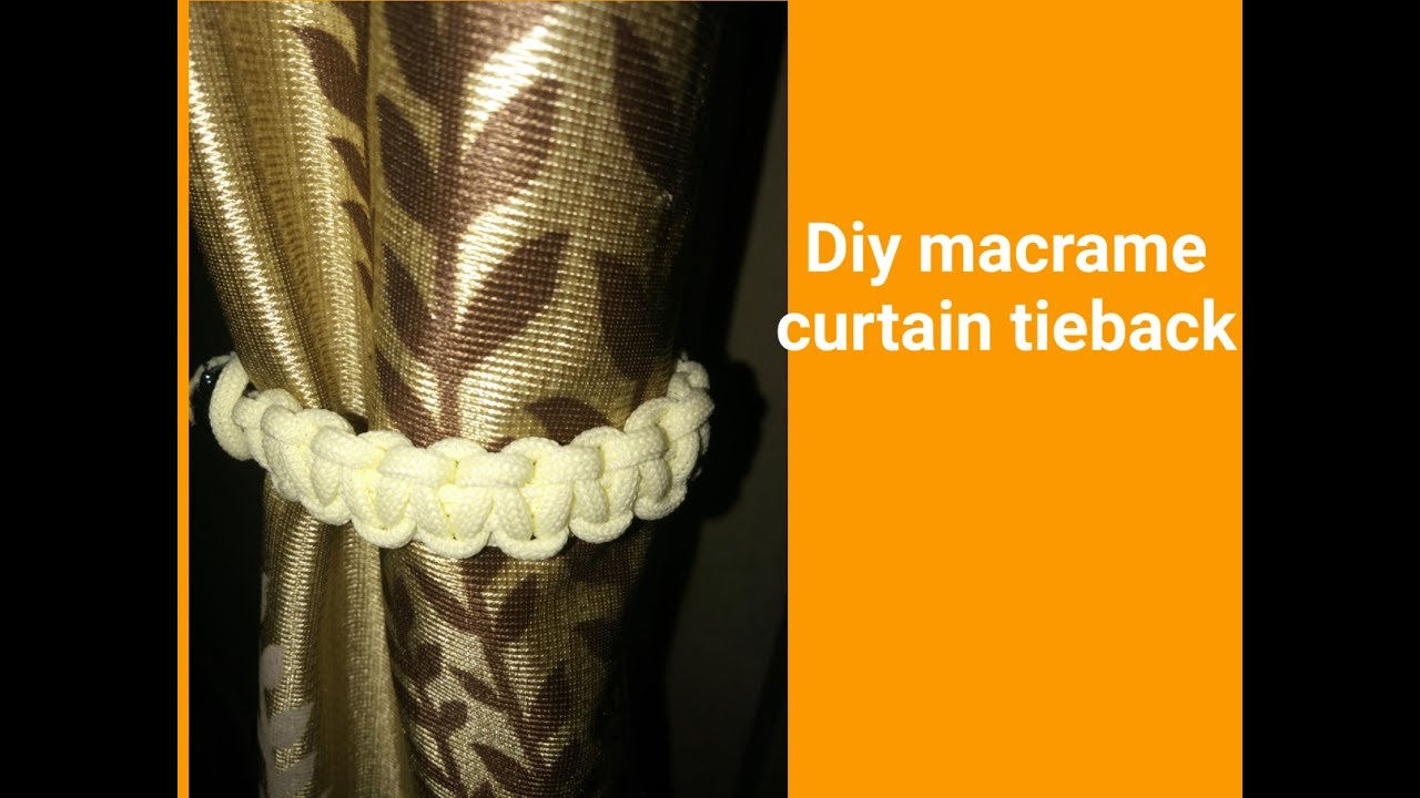 how to make macrame curtain tie back youtube. Black Bedroom Furniture Sets. Home Design Ideas