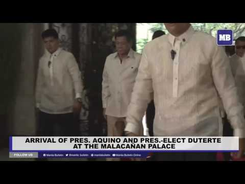 Arrival of Pres. Aquino and Pres.-Elect Duterte at the Malacañan Palace