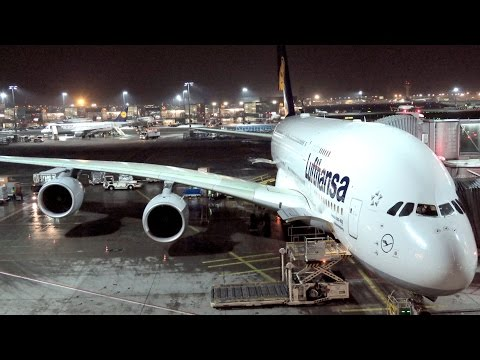 Lufthansa Airbus A380. Flight LH796 from Frankfurt to Hong Kong. Business Class. D-AIME