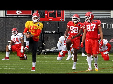 Quarterback Patrick Mahomes Joins Kansas City Chiefs Teammates During Practice