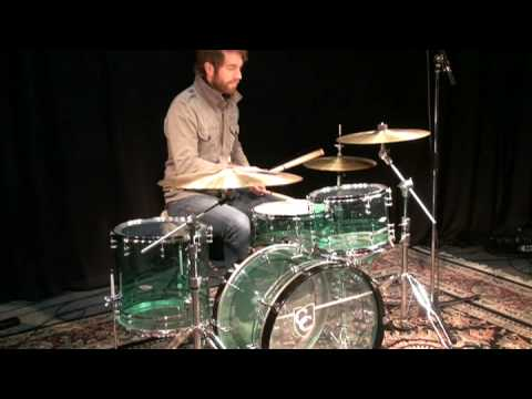 C&C Custom Coke Bottle Green Acrylic Drum Kit At Memphis Drum Shop