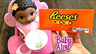 Baby Alive Super Snackin' Lily Doll eats Reese's Pieces Candy for a Snack!