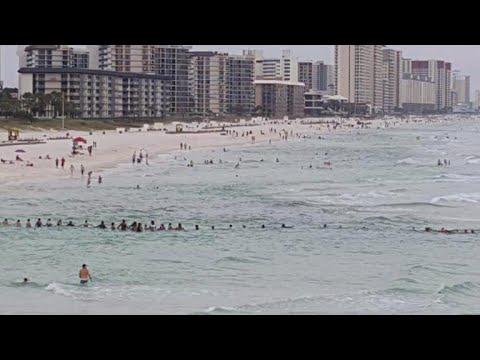 Beachgoers form human chain to save swimmers