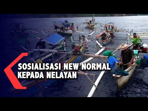TNI Angkatan Laut Sosialisasikan Normal Baru Kepada Nelayan Di Tengah Laut