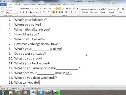 Questions For The Oral Exam
