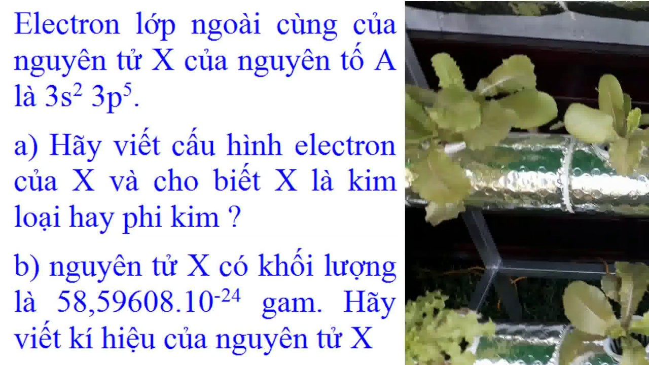 bài tập nguyên tử Electron lớp ngoài cùng của nguyên tử X là 3s2 3p5