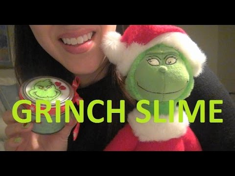 ASMR: MAKING GRINCH SLIME | HOLIDAY CRAFTS