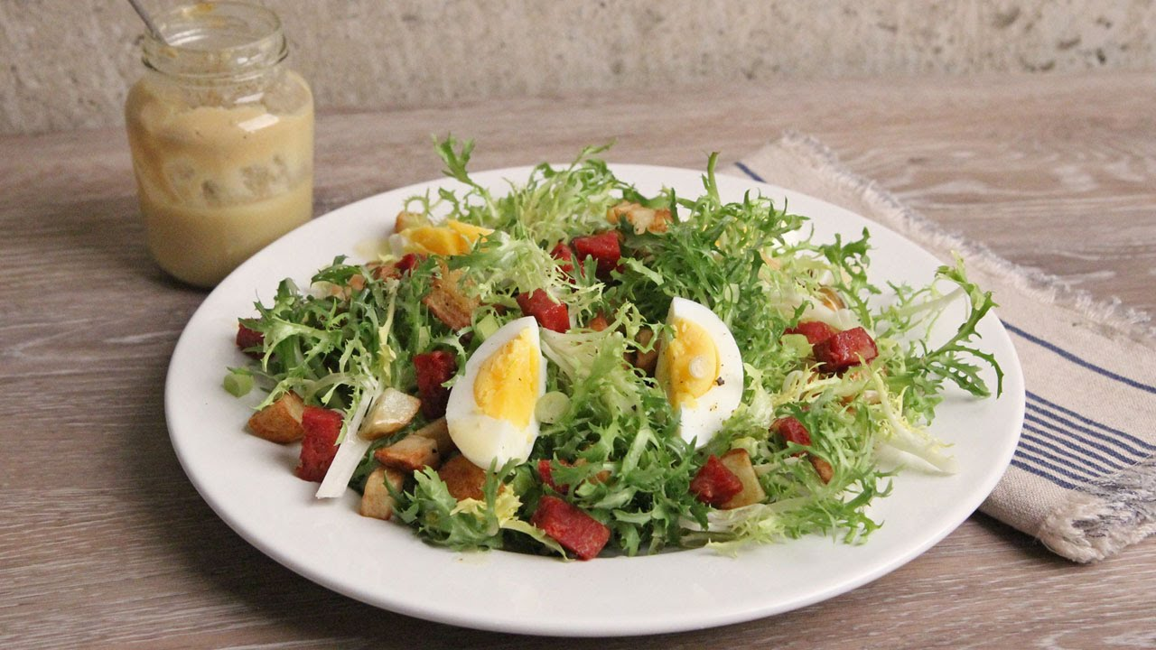 Frisee Salad With Potatoes And Hot Salami Recipe
