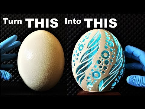 I Carve an Ostrich Egg filled with Resin (and it glows)