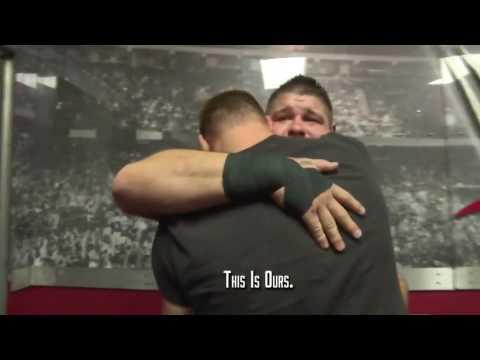 Sami Zayn Hugs Kevin Owens backstage after Owens wins Universal Title