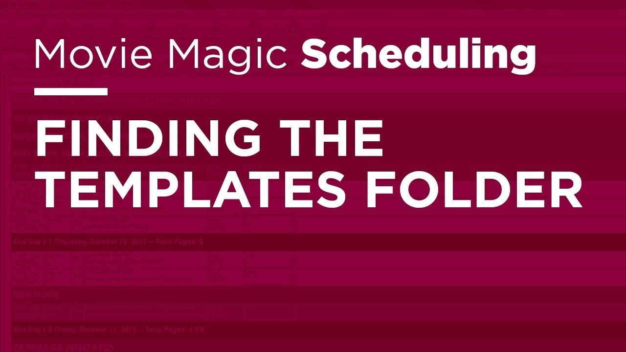 Movie Magic Scheduling - Finding the Templates Folder - YouTube
