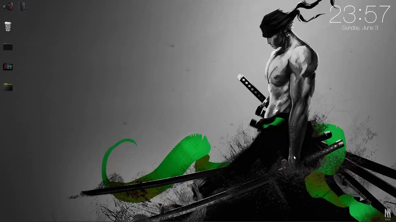 Zoro With Sword Particles Black And White With Green Stripes No Steam Need Live Wallpapers