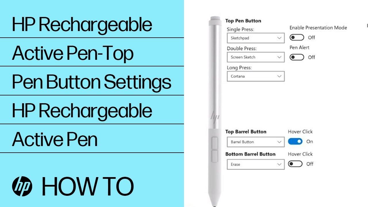HP Rechargeable Active Pen-Top Pen Button Settings | HP Rechargeable Active  Pen | HP