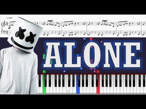 Marshmello - Alone - Piano Tutorial w/ Sheets