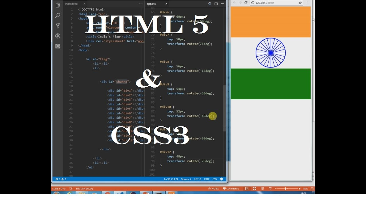 CSS3 Tricks - India's Flag Using Only HTML and CSS