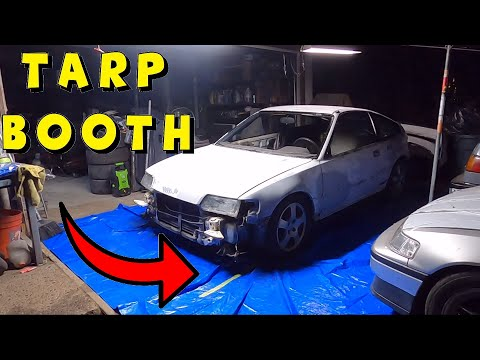 JUNKYARD RESCUED CRX 10: Rolling Into The Home Made Paint Booth!