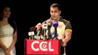 Salman Khan At CCL Season 2 Dubai Press Meet Video Part 6