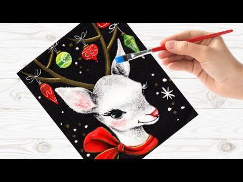Easy Painting In Acrylic Vintage Christmas Card Deer Live Stream | TheArtSherpa