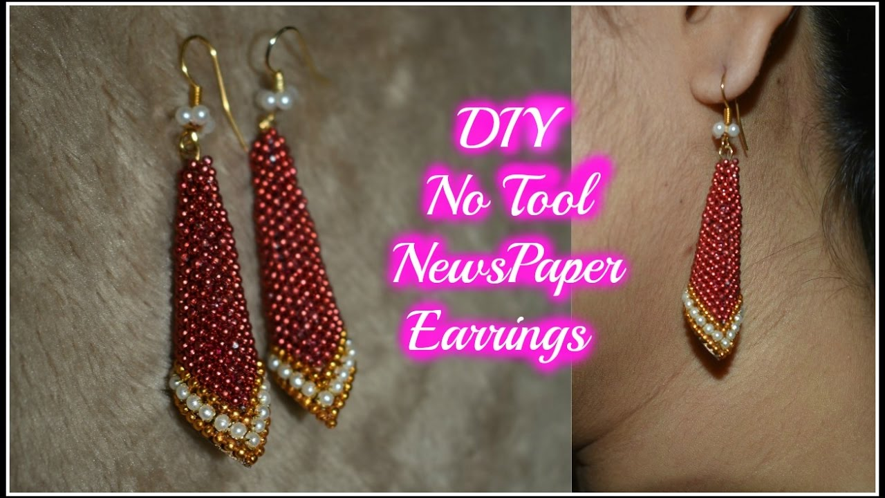 Diy best out of waste newspaper earrings how to make paper for Best out of waste making